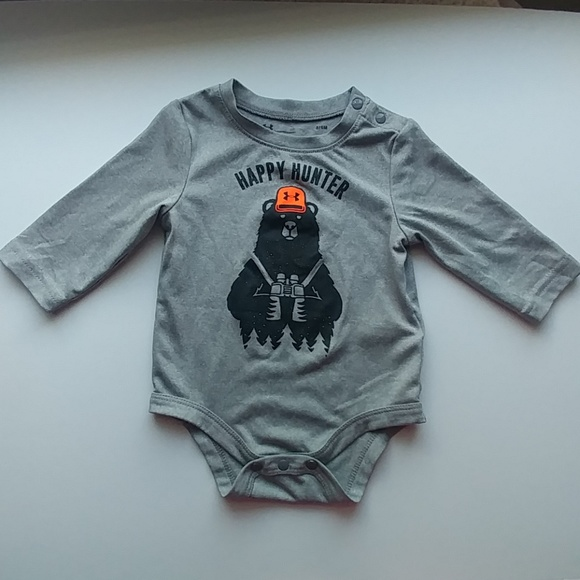NEW Under Armour Infant Bodysuit UA Logo Orange Black Sz 0-3 M
